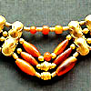 Necklace with carnelian and gold beads