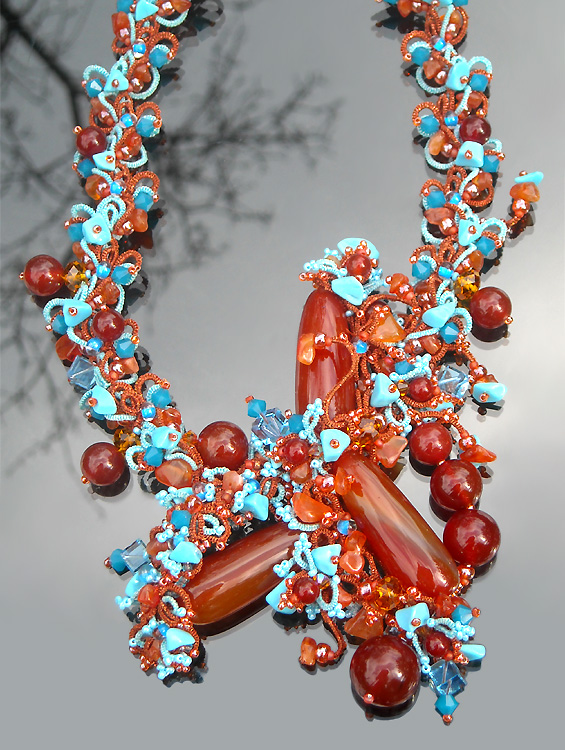 Shuttle tatting with beads objects by Alla Vizir