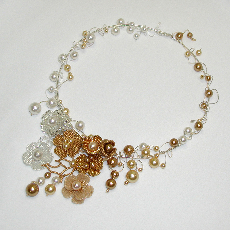 Flex Your Creativity Beading Contest by Soft Flex Company Winner: Bridal Flowers Necklace