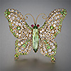 Hiddenite in jewelry: the brooch featuring the Hiddenite Butterfly