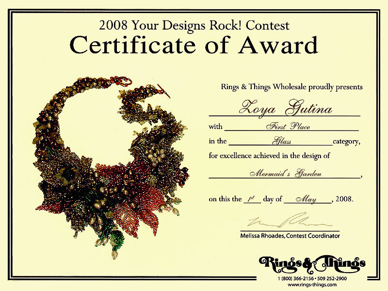 2008 Gemstone and beaded jewelry contest First Place Winner – First Place Award Certificate