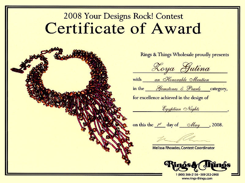 2008 Gemstone and beaded jewelry contest Honorable Mention Winner – Certificate Winner